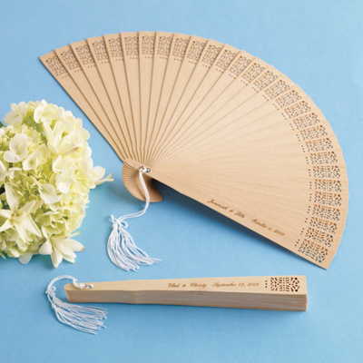 Personalized Sandalwood Fan Wedding Favor