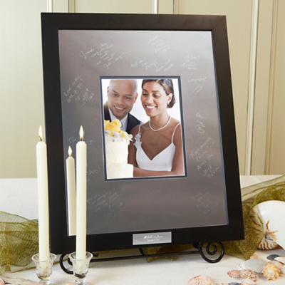 Personalized signature guest book frame with engravable plaque   163 0304 av1