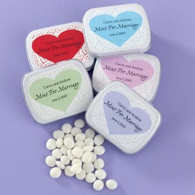 Heart Design Personalized Wedding Favor Mint Tins