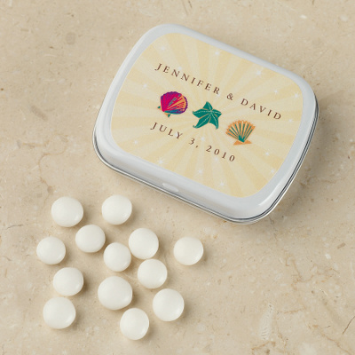 Personalized Wedding Mints Favor in Seaside Design