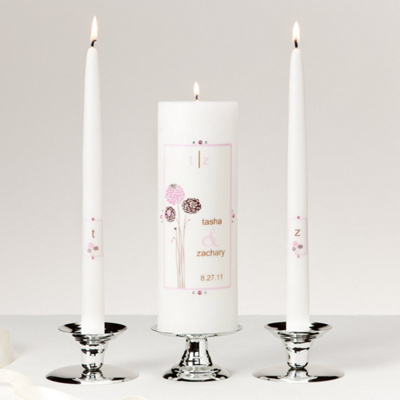 Pink and Black Dahlia Unity Candle Set
