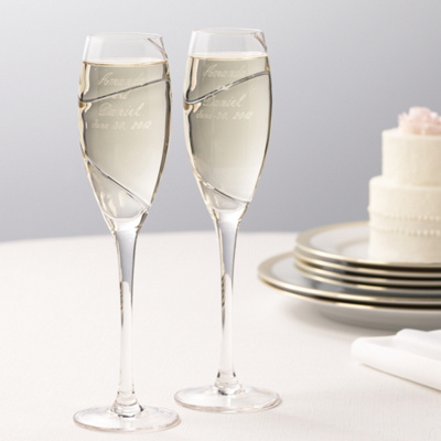 Platinum Swirl Wedding Toasting Flutes