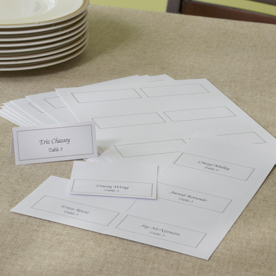 platinum trim white place card kit diy wedding place cards