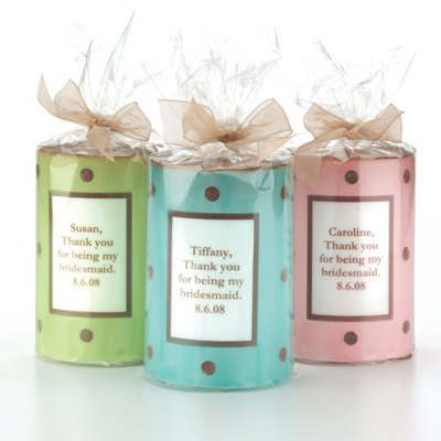 Polka Dot Thank You Candle for Bridesmaids