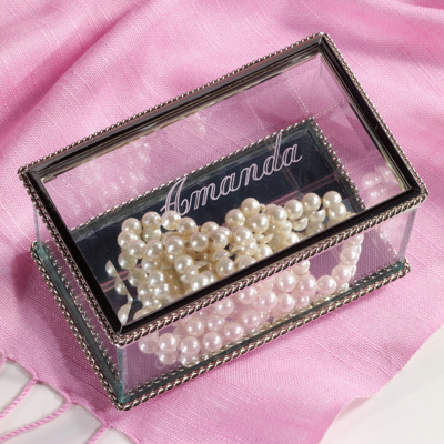 Personalized Glass Jewlery Box for Bridesmaids