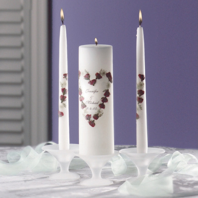 Rose Bouquet Personalized Wedding Unity Candle