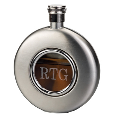 Engraved Round Flask for Groomsmen