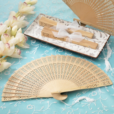 Exclusively Weddings Sandalwood Fan Wedding Favor