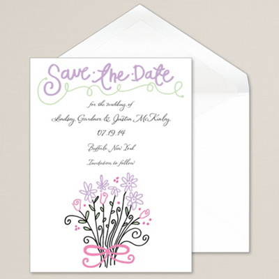 Flower Design Save the Date                                  (was $52.45 for 100)