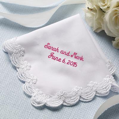 scalloped lace wedding handkerchief with free custom