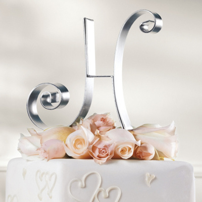 Metal Initial Wedding Cake Topper