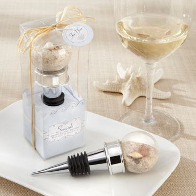 Seaside Sand and Shell-Filled Bottle Stopper Wedding Favor