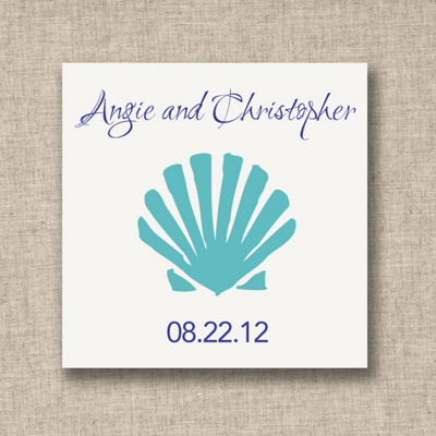 Shell Design Wedding Favor Tags
