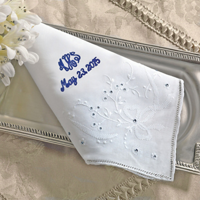 Shimmering Crystals Embroidered Wedding Handkerchief