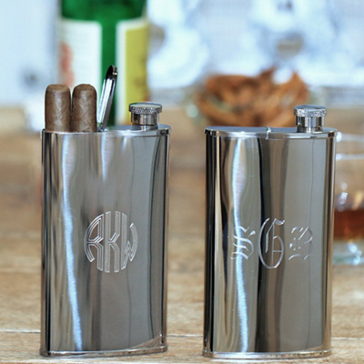 Buy online cigar stores - Stainless Steel Flask and Cigar Holder from Exclusively Weddings