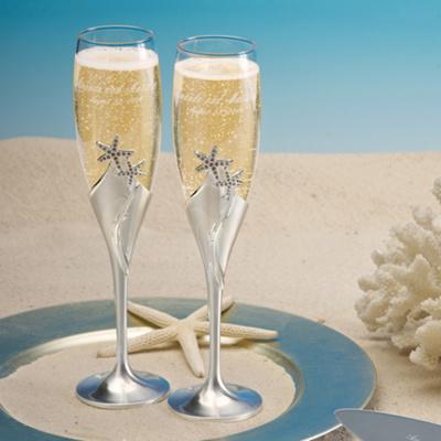 Starfish champagne flutes wedding toasting flutes for Wedding champagne flutes