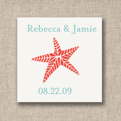 Starfish Wedding Favor Tags