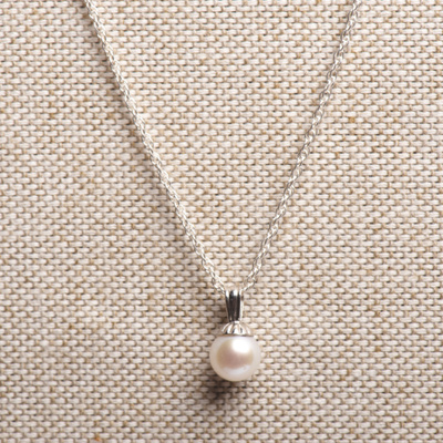 Suspended Freshwater Pearl Sterling Necklace