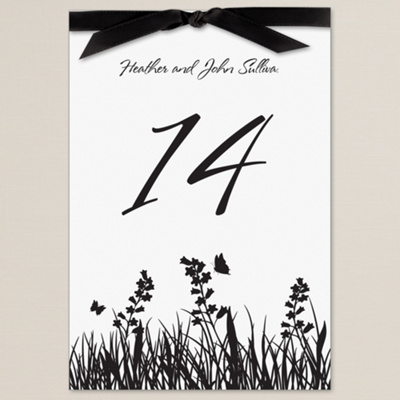 Butterfly Kisses Black Wedding Reception Table Number Cards