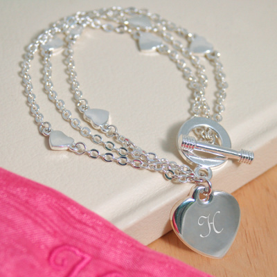 Triple-strand Heart Bridesmaid Charm Bracelet