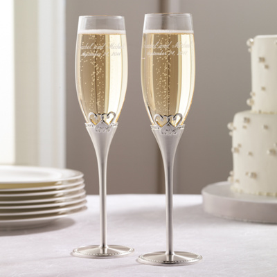 Two Hearts, One Love Wedding Toasting Flutes