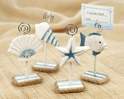 Wedding Gift Card Holder Beach Theme : ... Sea Place Card Holders with Matching Place Card, Beach Wedding Favors
