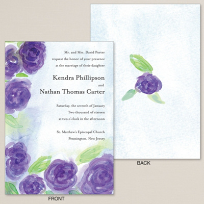 Watercolor Roses Wedding Invitation