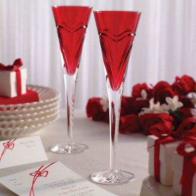 """Waterford """"Love & Romance"""" Red Flutes"""
