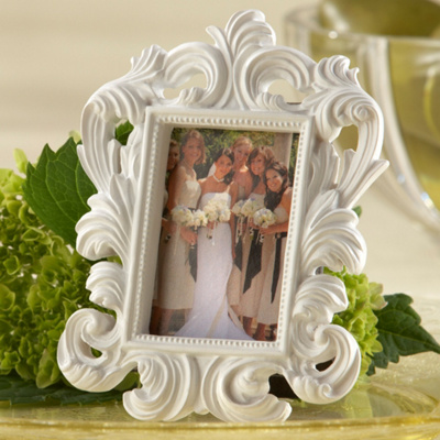 White Baroque Wedding Place Card Holder Frame